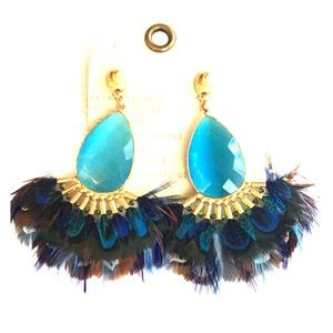Anthropologie GAS Bijoux Peacock Feather Earrings