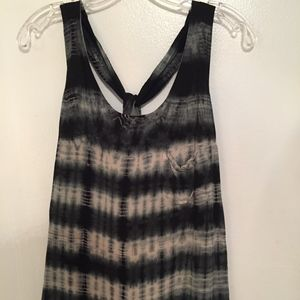 Ark & Co. Black Gray Tie-Dye Twist Back Tank Top