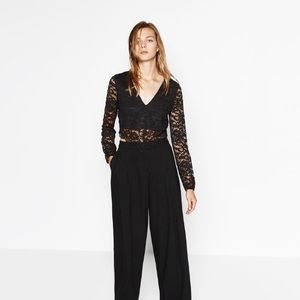 Zara black lace crop top.