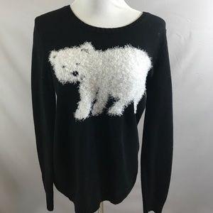 Style & Company fuzzy polar bear sweater size m