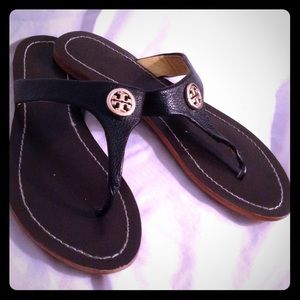 """Tory Burch """"Thora"""" tumbled leather flip flops shoe"""