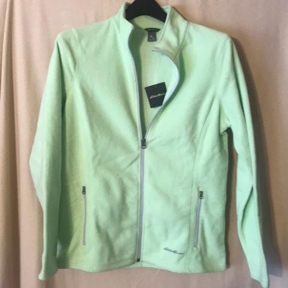 tehtaan aito uskomattomia hintoja uk myymälä Eddie Bauer women's LIME GREEN Fleece jacket NEW NWT