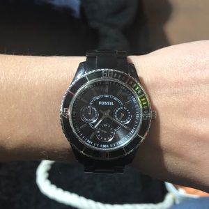 Used Black ladies Fossil watch.