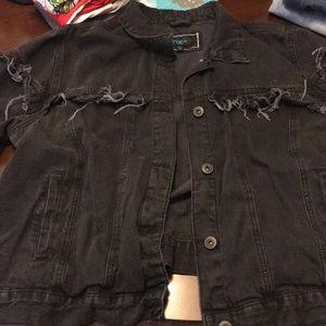 Black Distressed fringe denim jacket