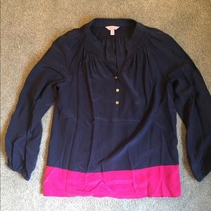 Lilly Pulitzer Elsa Silk Top - Navy and Hot Pink