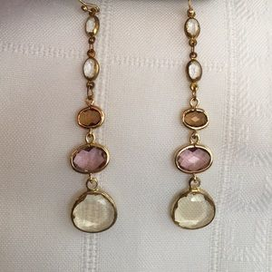 Anthropologie Golden Faceted Crystal Earrings