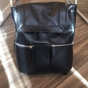 MUDD Black Faux Leather Backpack black zipper