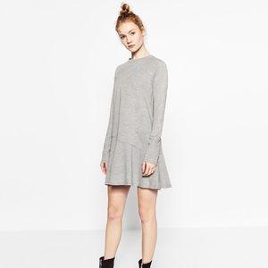Zara gray dress w/ ruffle hem. NWOT