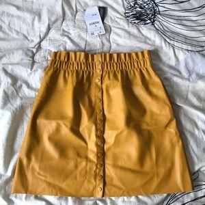 Zara button-up gold skirt