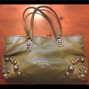 Burberry green leather tote