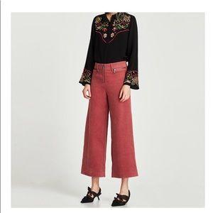 Zara corduroy wise leg trousers sz sm New with tag