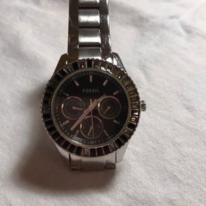 Fossil silver watch with black face and crystals