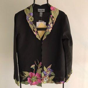 Indigo Moon Black Light Weight Linen Blend Jacket