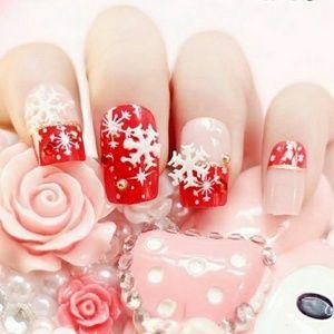 Christmas design fake nails 24pcs with glue