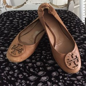 Tory Burch Reva flats shoes ballet brown logo 7