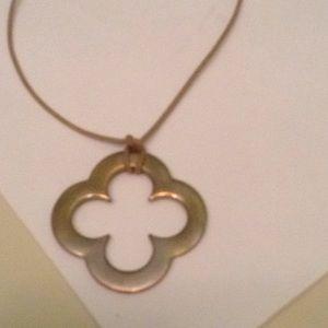 Clover brass medallion necklace