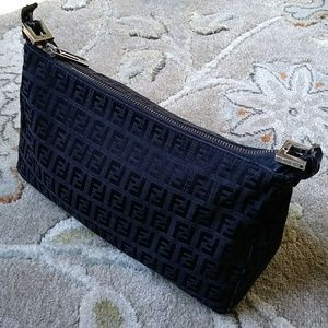 Black Fendi Zucca Monogram Shoulder Bag
