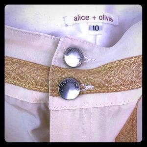 Alice + Olivia washed linen and gold pants