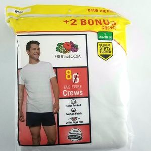 Men's Fruit Of The Loom T-Shirts Crew Small 34-36