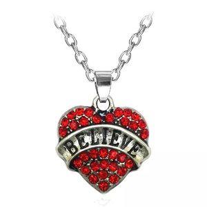 🎉5/$25🎉 Believe Rhinestone Heart Necklace