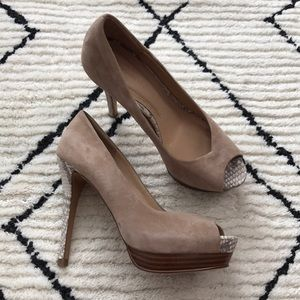 Zara Suede Peep Toe Pumps