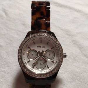 Fossil watch white face brown black plastic band