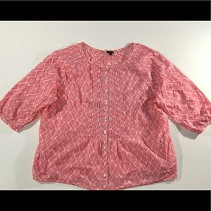 Talbot's Pink White Plus Blouse sz 3X