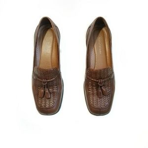 Naturalizer Brown Leather Loafers With Tassels