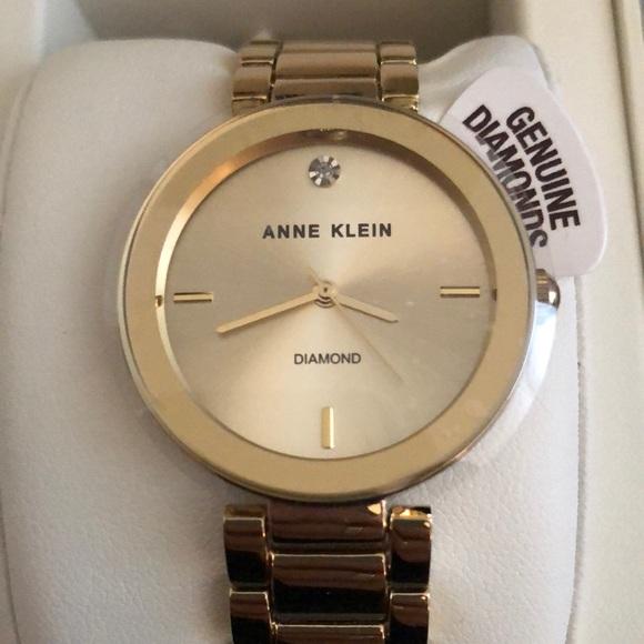 f7392fd79 Anne Klein Accessories | Genuine Diamond Collection Gold Watch ...
