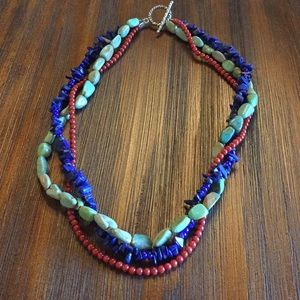 """Tri color stone necklace approximately 18.5"""""""