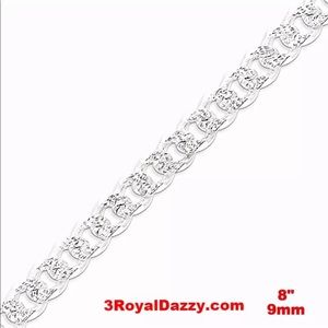 """New Solid HEAVY & THICK Silver BRACELET - 9mm 8"""""""