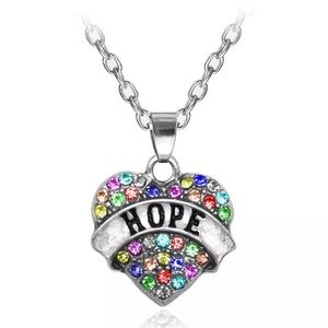 🎉5/$25🎉 Hope Rhinestone Heart Necklace