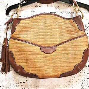 Cece Cord Leather Rattan Woven Purse Tassle