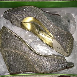 Silver sparkly wedge heels