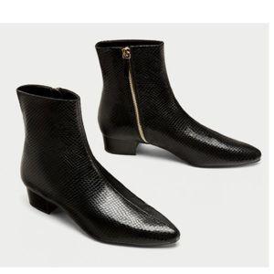 Zara Flat Embossed Ankle Boot