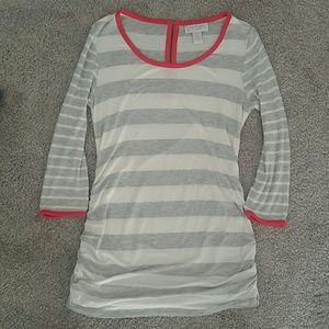 Adorable white gray and pink maternity top!