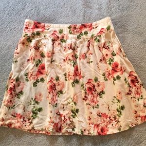White and pink floral skirt