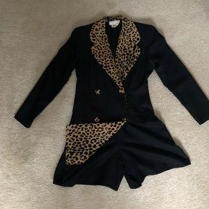 Black and animal print skort jumpsuit.