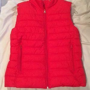 Red puffy winter vest