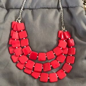 Chunky Red Bib Necklace