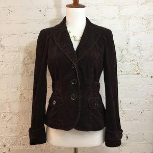 LOFT Brown Corduroy Blazer Puff Sleeve Size 2P