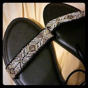 Black tie ankle beaded sandals sz 6