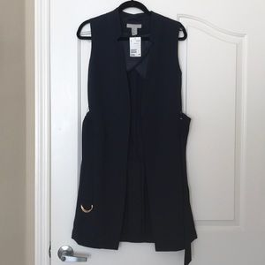Navy Long Sleeveless Blazer