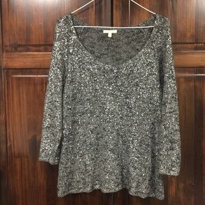 Eileen Fisher size large black & silver sweater