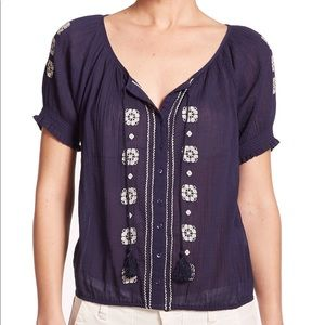 Joie Dolina C embroidered cotton blouse sz M navy