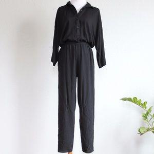 Vintage Jumpsuit Black Button Down 90s