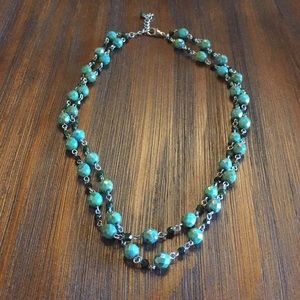 3/$20 Dual Stranded Green Beaded Necklace