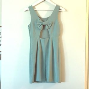 Sea foam green dress with bow on back
