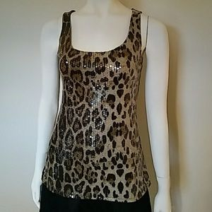 INC International Concepts Tops - INC International Concepts leopard sequin tank