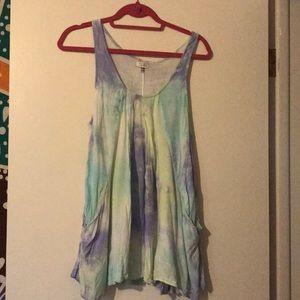 Purple, blue, and green babydoll dress